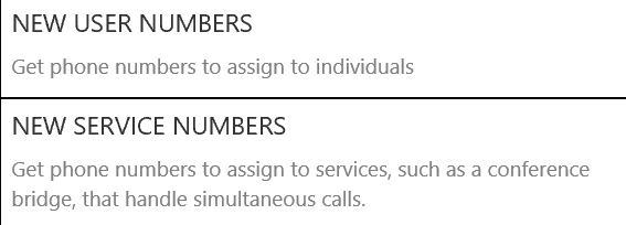 select new service numbers